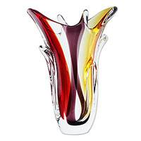 Handblown art glass vase, 'Early Blossoms' - Red and Purple Blown Glass Vase with Yellow Accents