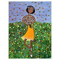 'Prima Donna of the Savannah' - Original Signed Naif Painting of a Young Brazilian Dancer