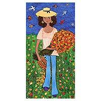 'Picking Calliandra Flowers' - Brazilian Naif Art Painting of a Woman and Flowers