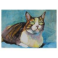 'Moquinha the Cat' - Watercolor on Paper Painting of Cat from Brazil