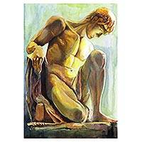 'Greek' - Brazilian Watercolor on Paper Painting of a Man