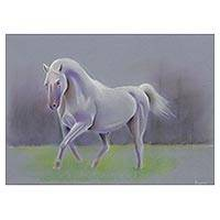 'Childhood Dream' - Pastel Pencil on Paper Drawing of Horse from Brazil