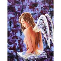 'Wisdom' - Signed Expressionist Painting of a Nude Angel from Brazil