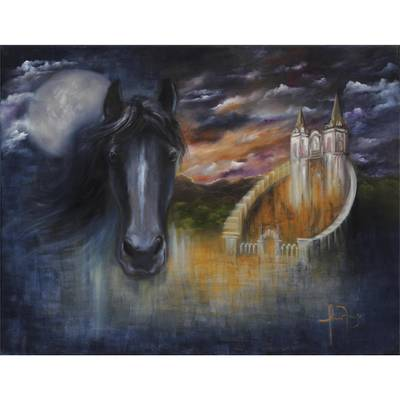 'Magic of the Forest' - Signed Surrealist Painting of a Horse from Brazil