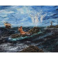 'Guardians of the Seas' - Signed Nautical Surrealist Painting from Brazil