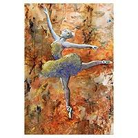 'Simply Free' - Signed Expressionist Painting of a Ballet Dancer from Brazil