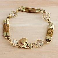 Gold plated quartz and golden grass link bracelet, 'Grassland' - Golden Grass and Clear Quartz Link Bracelet