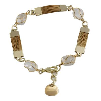 Golden Grass and Clear Quartz Link Bracelet