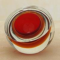 Art glass sculpture, 'Fireball' - Red-Orange Murano-Inspired Art Glass Sculpture