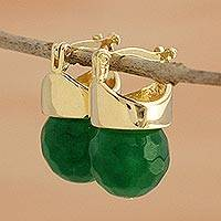 Gold plated jasper drop earrings, 'Green Acorns' - Faceted Brazilian Jasper Drop Earrings Bathed in 18k Gold