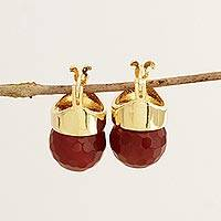 Gold plated agate drop earrings, 'Crimson Acorns' - Gold Plated Red Agate Drop Earrings from Brazil