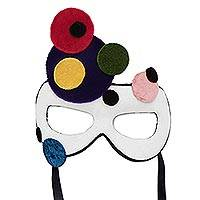 Velvet mask, 'Bubbling with Excitement' - Handcrafted Colorful Velvet Mask from Brazil