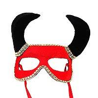 Velvet mask, 'Red Devil' - Velvet Devil Mask in Red and Black from Brazil