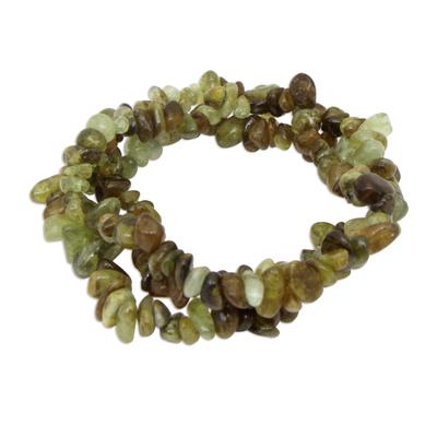 Green Garnet Beaded Stretch Bracelets (Set of 3)