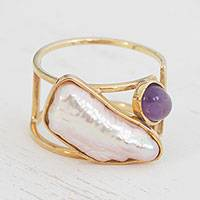 Amethyst and cultured pearl cocktail ring, 'Bold Duo' - Amethyst and Cultured Pearl Gold Ring