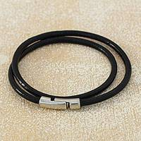 Men's leather wrap bracelet, 'Urban Confidence in Black'
