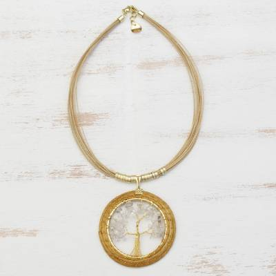 Gold plated quartz and golden grass statement necklace, 'Ethereal Tree' - Quartz Tree and Golden Grass Circular Statement Necklace