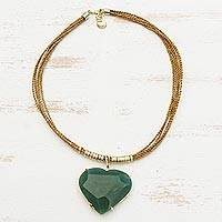 Gold plated quartz and golden grass statement necklace, 'Bold Love' - Green Quartz Heart Pendant with Golden Grass Cord Necklace