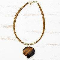 Gold plated tiger's eye and golden grass statement necklace, 'Smolder' - Tiger's Eye Pendant with Golden Grass Cord Necklace
