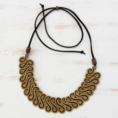 Gold plated golden grass pendant necklace, 'Winding Path' - Golden Grass Statement Necklace with Adjustable Cord
