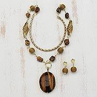 Featured review for Gold plated tigers eye and golden grass jewelry set, Earth Lode