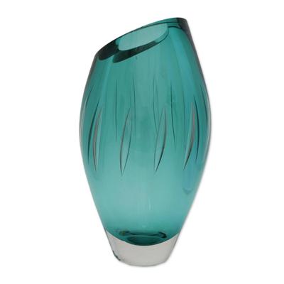 Brazilian Artisan Made Green Murano Inspired Art Glass Vase Amazon