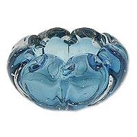 Art glass centerpiece, 'Blue Shell' - Brazilian Hand Blown Blue Murano Inspired Glass Centerpiece