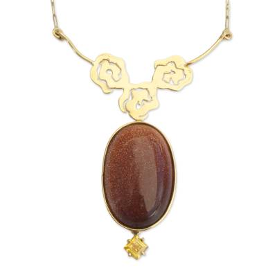 18K Gold-Accented Flower Motif and Sunstone Pendant Necklace