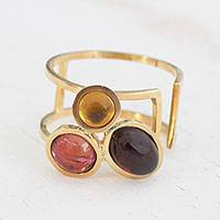 Multi-gemstone cocktail ring, 'Warm Trio' - Gemstone Trio Gold Ring in Tourmaline, Garnet and Citrine