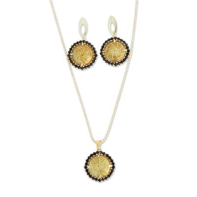18k Gold Plated Golden Grass Jewelry Set from Brazil
