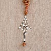 Carnelian strand pendant necklace, 'Webbed Arrow' - Carnelian, Fine Silver Abstract Arrow Pendant Necklace