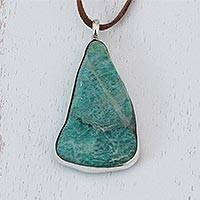 Amazonite pendant necklace, 'Sea Drop' - Amazonite Pendant Necklace with Long Leather Cord