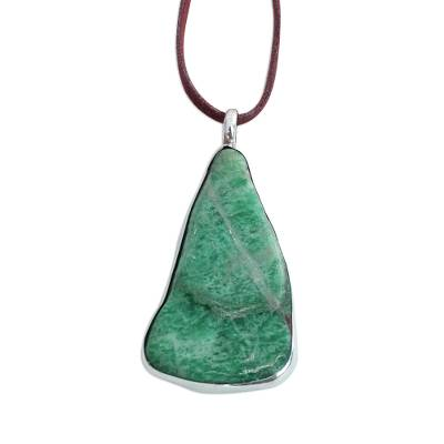 Amazonite Pendant Necklace with Long Leather Cord