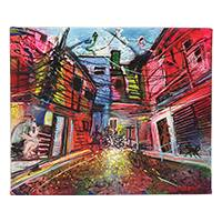 'Favela and Bike' - Signed Expressionist Painting of a Favela from Brazil