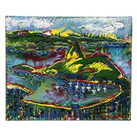 'Sugarloaf Hill in Green' - Signed Expressionist Painting of Sugarloaf Hill from Brazil