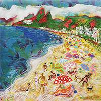 '40 Degrees in Rio II' - Expressionist Painting of a Beach Scene from Brazil