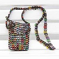 Recycled soda pop-top sling bag,