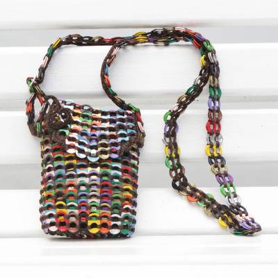 Recycled soda pop-top sling bag, 'Whimsical Colors' - Recycled Multicolor Aluminum Soda Pop-Top Sling Bag
