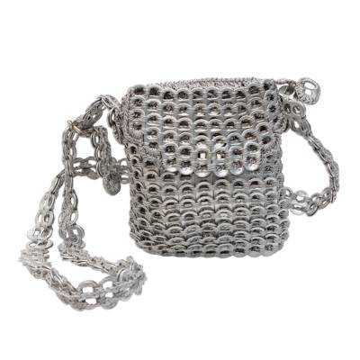 Recycled soda pop-top sling bag, 'Silver Sheen' - Recycled Silver Aluminum Soda Pop-Top Sling Bag