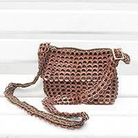 Recycled soda pop-top shoulder bag, 'Carnaval in Brown' - Recycled Aluminum Soda Pop-Top Shoulder or Sling Bag