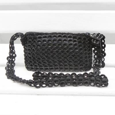 Recycled soda pop-top sling bag, 'Sleek Black' - Recycled Black Aluminum Soda Pop-Top Sling Bag
