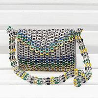 Recycled soda pop-top sling bag, 'Shining Brazil' - Recycled Multicolor Aluminum Soda Pop-Top Sling Bag