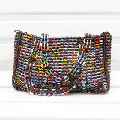 Recycled soda pop-top shoulder bag, 'Modern Whimsy' - Recycled Multicolor Aluminum Soda Pop-Top Shoulder Bag