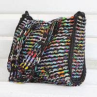 Recycled soda pop-top shoulder bag, 'Lively Step' - Recycled Multicolor Aluminum Soda Pop-Top Shoulder Bag