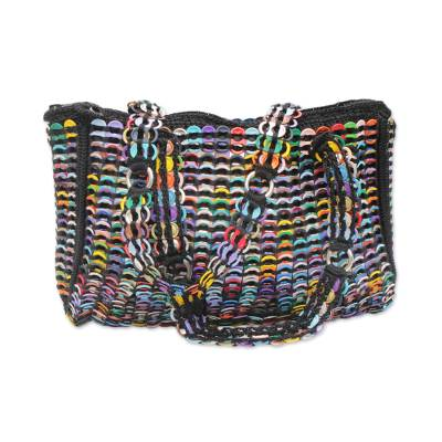 Novica Recycled soda pop-top shoulder bag, Lively Step