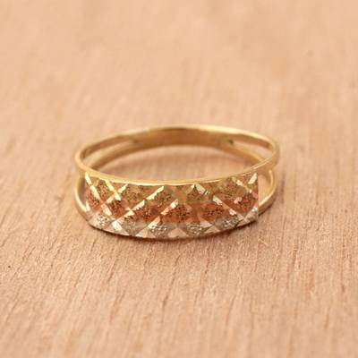 Gold band ring, Tricolor Constellation