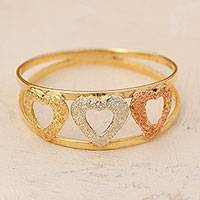 Gold band ring, 'Tricolor Hearts' - Heart Motif 14k Gold Band Ring from Brazil