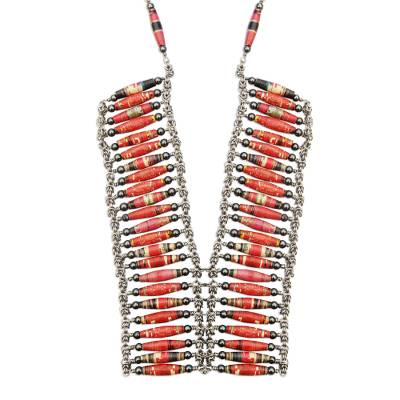 Recycled paper and hematite statement necklace, 'Tribal Links' - Recycled Paper and Hematite Statement Necklace from Brazil