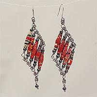 Recycled paper and hematite dangle earrings, 'Tribal Links'
