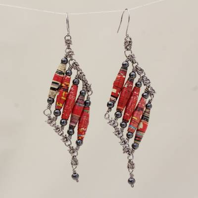 Recycled paper and hematite dangle earrings, 'Tribal Links' - Recycled Paper and Hematite Dangle Earrings from Brazil